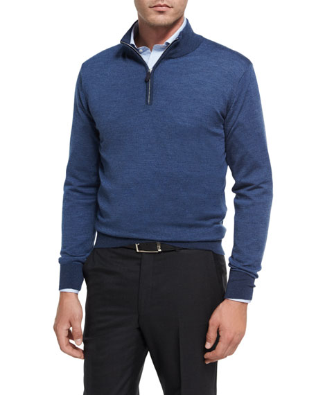 Peter Millar Collection Birdseye Quarter-Zip Pullover, Avio Blue