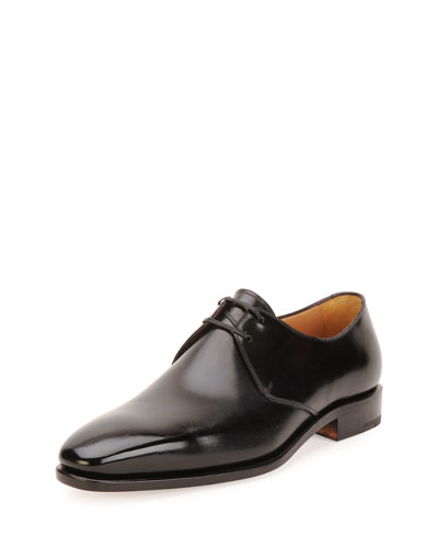 Tramezza Calfskin Lace-Up Oxford, Black