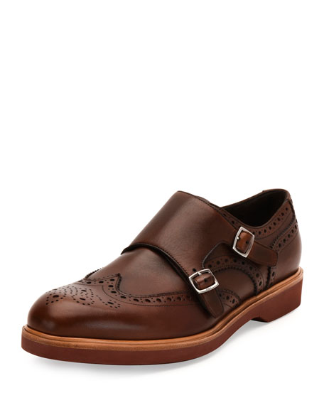 Salvatore Ferragamo Calfskin Double Monk-Strap Loafer with