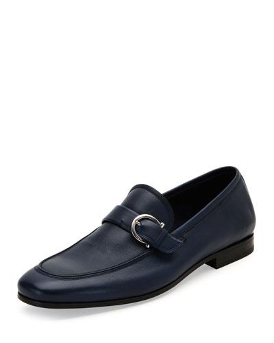 Faruk Soft Calfskin Side-Gancio Loafer, Blue Marine