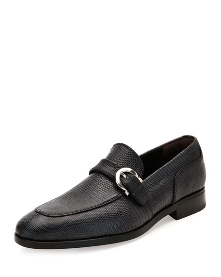 Salvatore Ferragamo Lizard Gancio-Buckle Loafer, Graphite