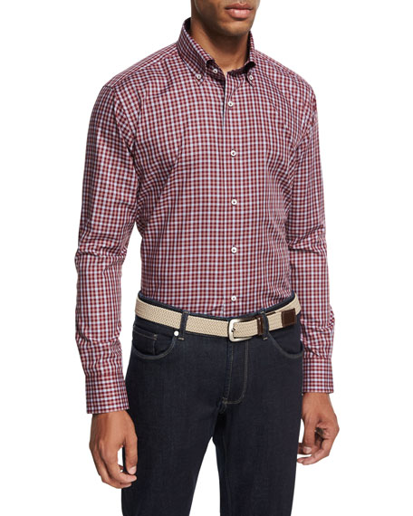 Peter Millar Collection Isle Check Sport Shirt, Chianti