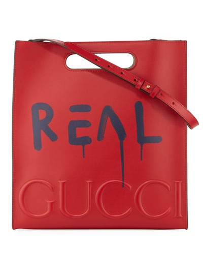 GucciGhost Leather Tote Bag, Red