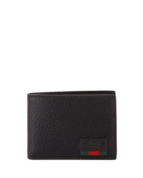 Gucci Leather Bi-Fold Wallet with Web, Black