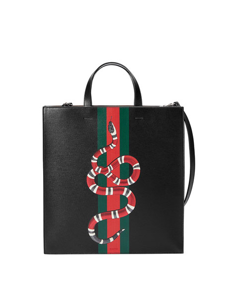 Gucci Web & Snake Leather Tote Bag