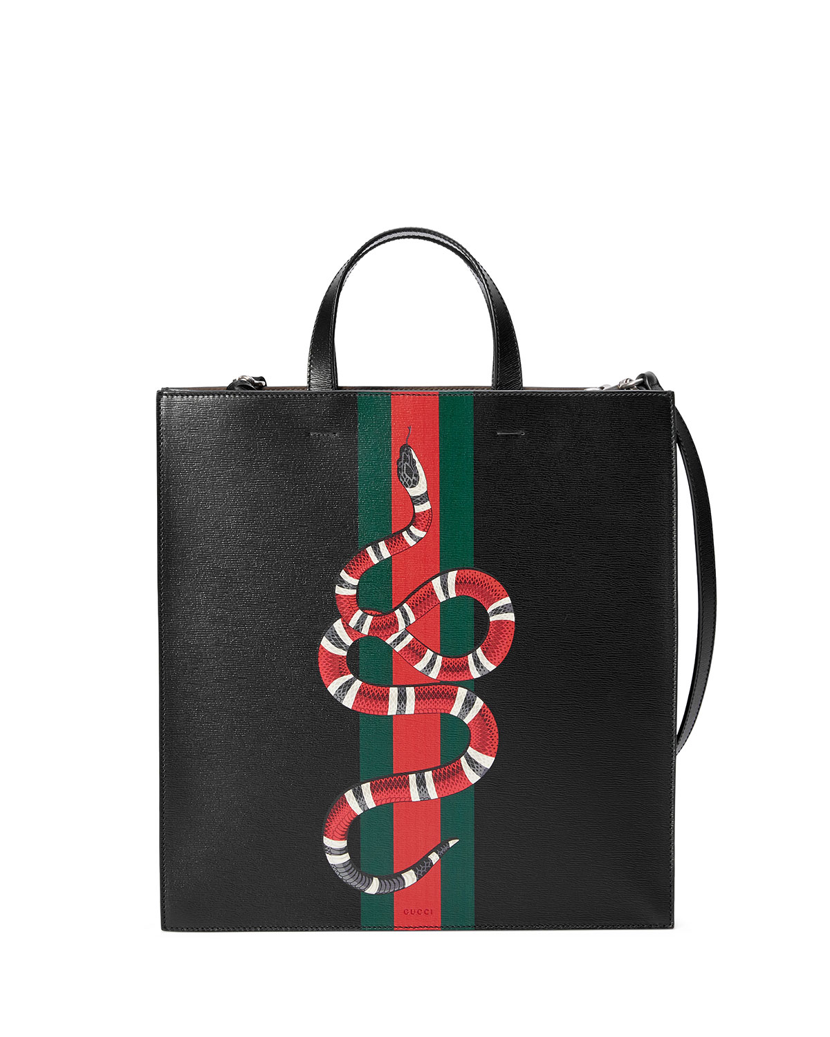714e5c6a2ee6 Gucci Web & Snake Leather Tote Bag | Neiman Marcus