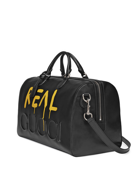 GucciGhost Leather Duffel Bag, Black