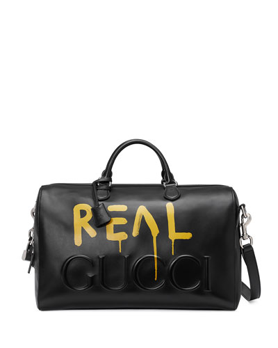 GucciGhost Leather Duffle Bag, Black