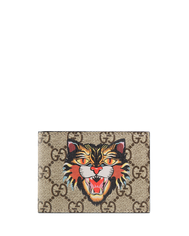 e01e918d2ae6 Gucci Angry Cat GG Supreme Wallet | Neiman Marcus