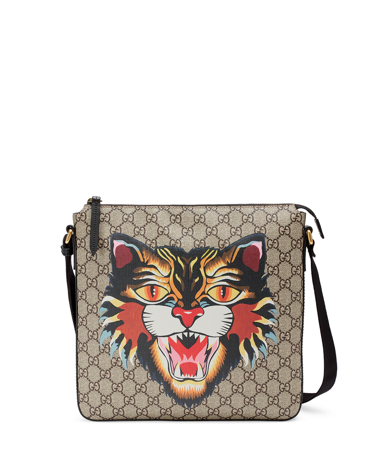 423cef0d7285 Gucci Angry Cat GG Supreme Messenger Bag | Neiman Marcus