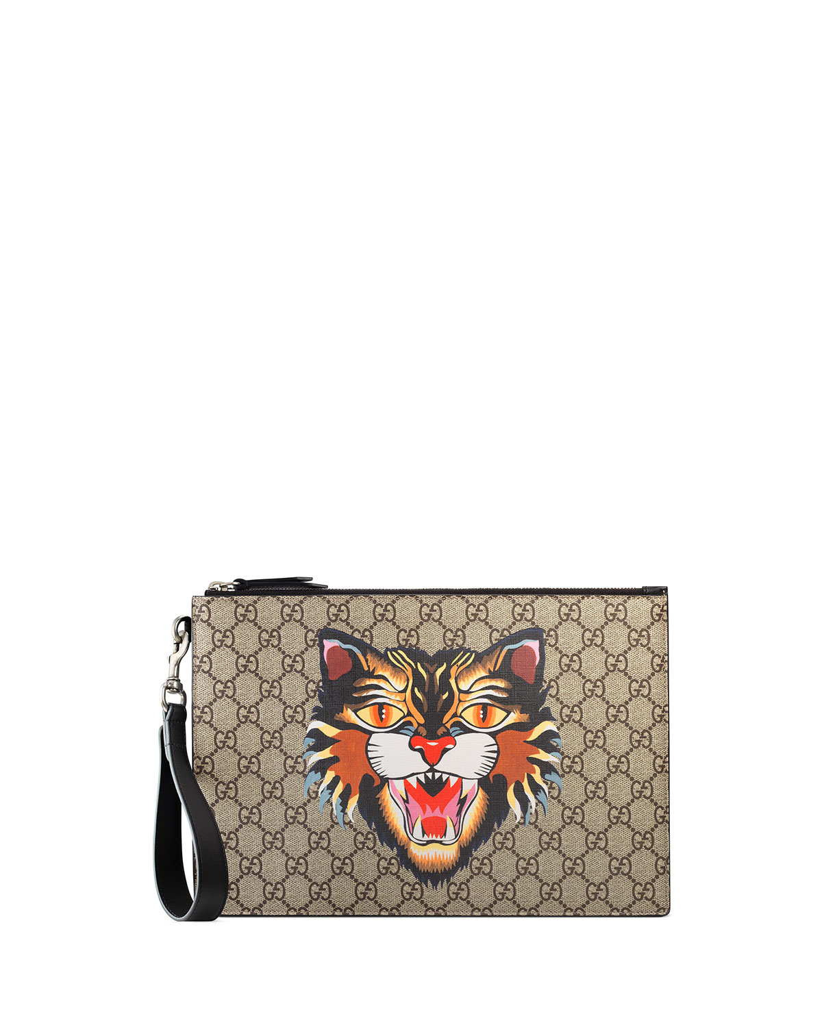 a327165c53ed Gucci Angry Cat GG Supreme Pouch | Neiman Marcus