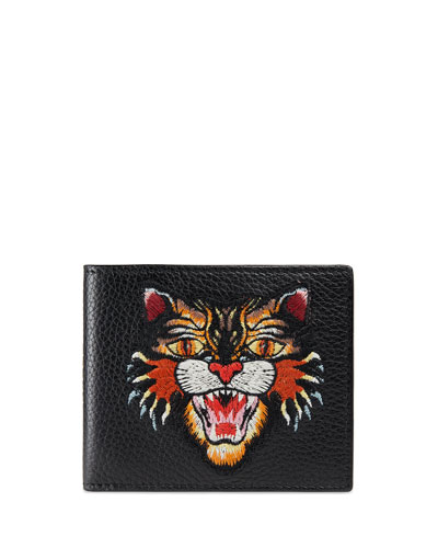 Angry Cat Embroidered Leather Wallet, Black