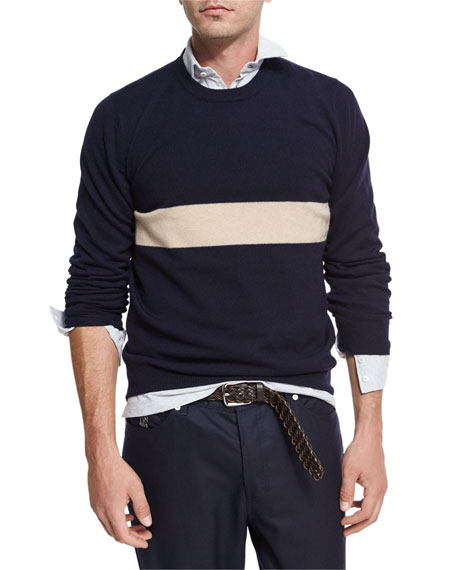 Brunello Cucinelli Striped Cashmere Crewneck Sweater and Matching