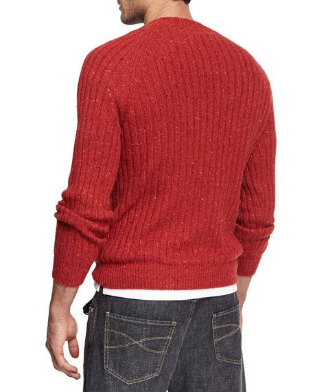 Donegal Cable-Knit Crewneck Sweater