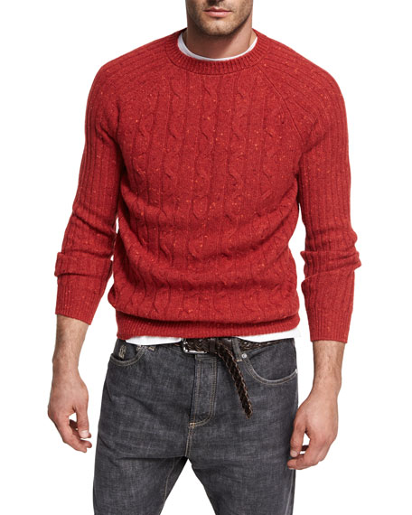 Brunello Cucinelli Donegal Cable-Knit Crewneck Sweater