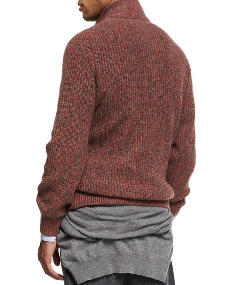 Melange Cashmere Zip-Front Cardigan