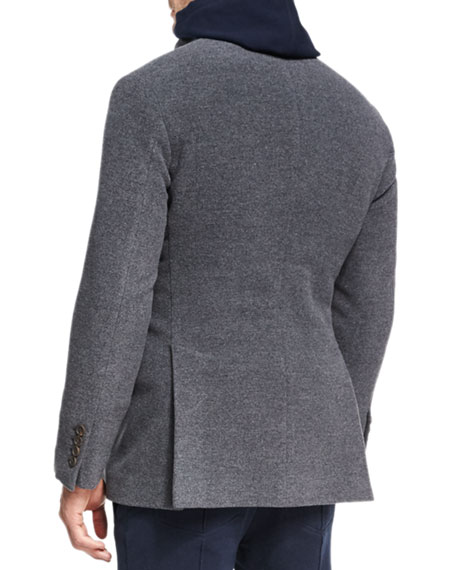 Wool-Cashmere Zip-Front Pea Coat, Dark Gray