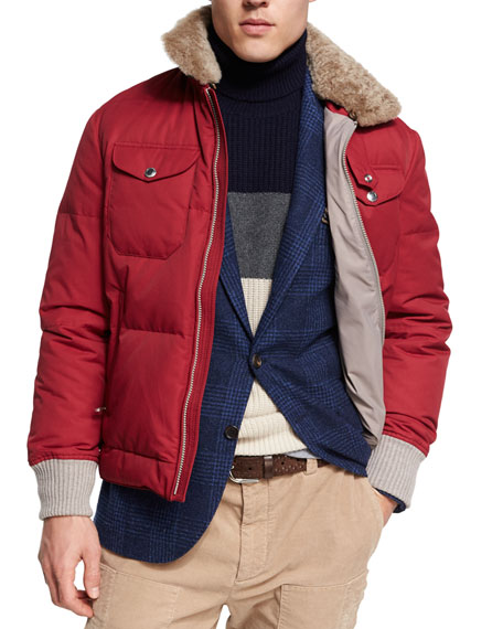 Brunello Cucinelli Down Jacket with Shearling Collar, Red/Brown