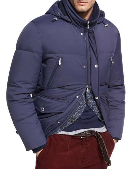 Brunello Cucinelli Quilted Nylon Down Jacket, Cobalt