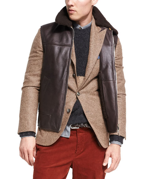 Brunello Cucinelli Lamb Leather & Shearling Vest