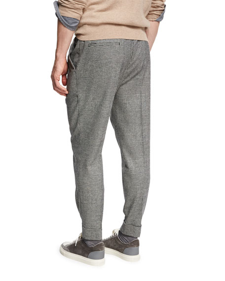 Glen Plaid Wool-Cashmere Leisure-Fit Pants