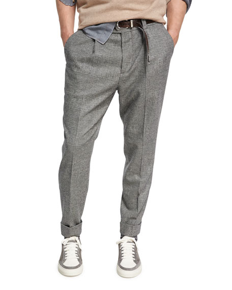 Brunello Cucinelli Glen Plaid Wool-Cashmere Leisure-Fit Pants and