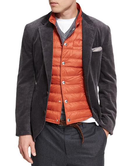 Brunello Cucinelli Corduroy Sport Jacket, Dark Gray