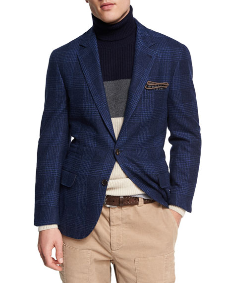 Brunello Cucinelli Glen Plaid Wool-Cotton Sport Coat, Dark
