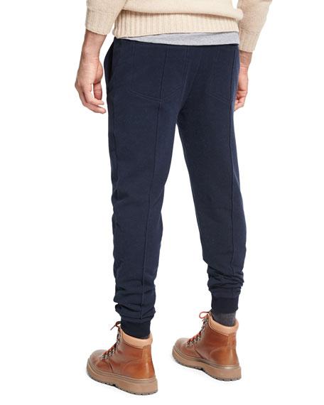Spa Seamed Cotton Jogger Pants, Navy