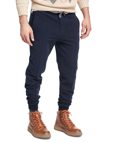 Spa Seamed Cotton Jogger Pants, Navy