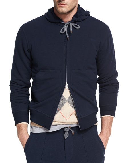 Brunello Cucinelli Spa Stretch-Cotton Hoodie Cardigan, Navy