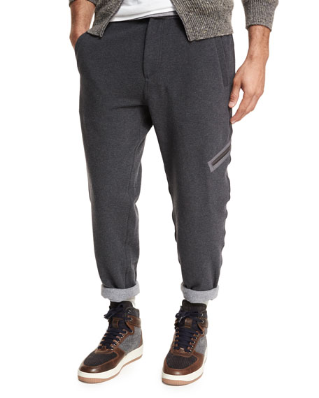 Brunello Cucinelli Spa Contrast-Trim Sweatpants