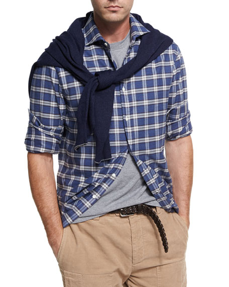 Madras Plaid Flannel Cotton Shirt, Gray/Blue
