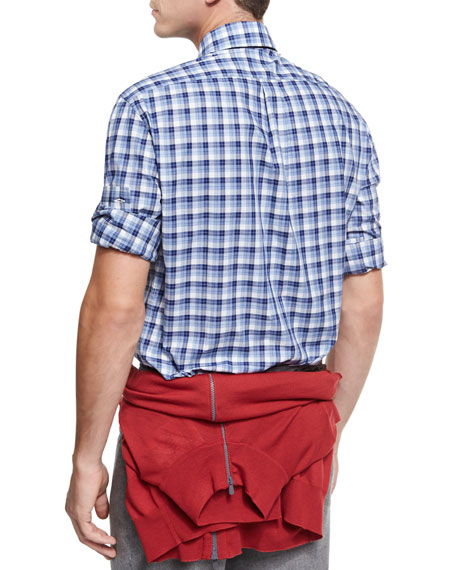 Micro-Madras Plaid Cotton Shirt, Blue/White