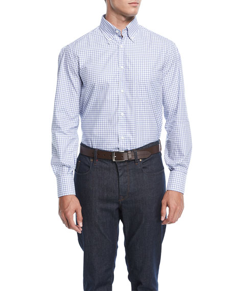 Brunello Cucinelli Double-Checked Cotton Sport Shirt