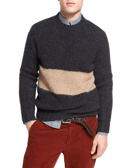Brunello Cucinelli Striped Alpaca-Blend Crewneck Sweater