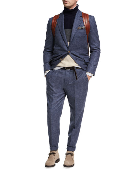 Brunello Cucinelli Donegal Wool-Silk Two-Piece Suit, Blue