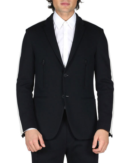 Fendi Track-Stripe Blazer Jacket, Black