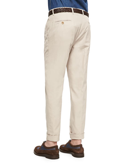 Lightweight Flat-Front Pants, Stone
