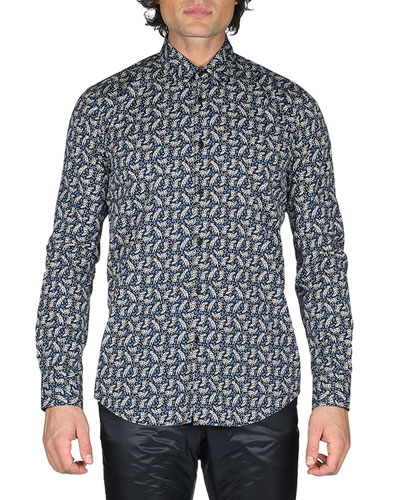 Jaguar-Print Cotton Shirt, Black