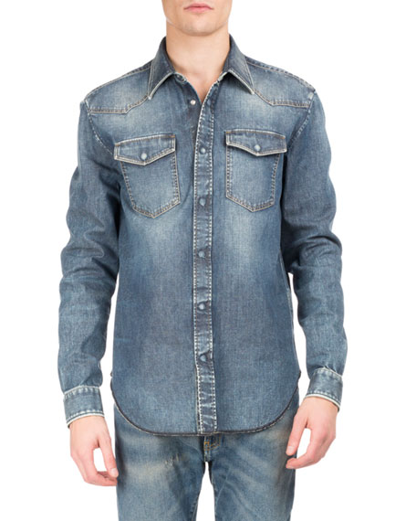Maison Margiela Denim Western Shirt, Blue