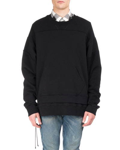 Pieced Double-Hem Side-Zip Sweatshirt, Black
