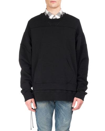 Pieced Double-Hem Side-Zip Sweatshirt, Black