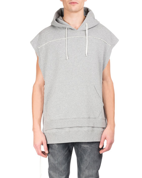 Maison Margiela Pieced Double-Layer Sleeveless Hoodie, White/Gray
