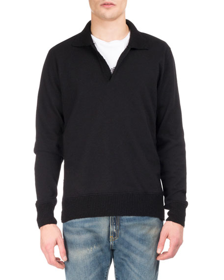 Maison Margiela Johnny-Collar Wool Polo Sweater, Black