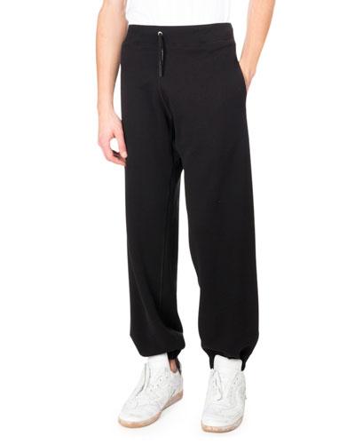 Drawstring Cotton Sweatpants, Black