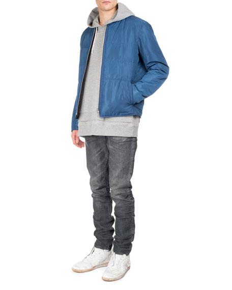 Faded Denim Straight-Leg Jeans, Gray