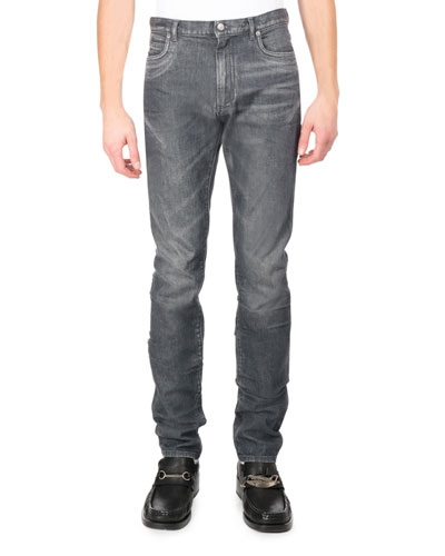 Faded Denim Straight-Leg Jeans  Gray