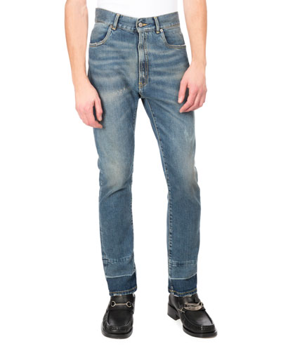 Stretch Denim Straight-Leg Jeans with Released Hem, Light Blue
