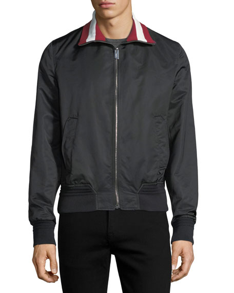 Stripe-Collar Varsity Track Jacket, Black